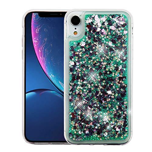 Schutzhülle für iPhone XR, Hearts & Green Quicksand Glitter Quicksand Hard Faceplate