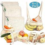 Sacs Réutilisables en Coton à Fruits et Légumes, Sacs à provisions Durable et Lavable Double Piqué avec étiquette, Ensemble de 8 (S*2, M*2, L*2, Sac à provisions*2)...