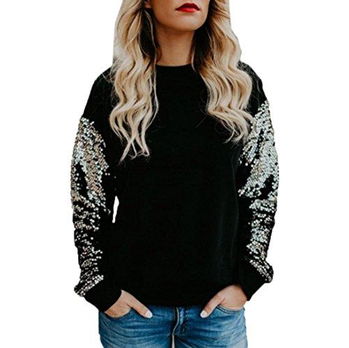 Damen Langarm Shirt URSING Frauen Elegant Bluse Beiläufig O-Ausschnitt Pailletten Oberteile Casual T-Shirt Lose Chic Stitching Tops Hemd Hemdbluse Rundhals Pullover Sweatshirt Pulli (S, Schwarz) (Pailletten-neck-top)