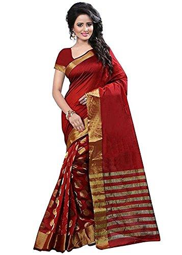 Derisory Women's Cotton Silk Saree With Blouse Piece (Red)