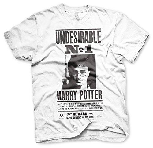 HARRY POTTER Offizielles Lizenzprodukt Wanted Poster Herren T-Shirt (Weiß), X-Large