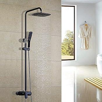 homelody duscharmatur schwarz duschsystem rainshower regendusche duschset brausegarnitur mit. Black Bedroom Furniture Sets. Home Design Ideas