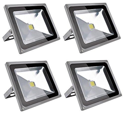 Leetop 4X 50W LED Strahler Kaltweiß Fluter Licht Scheinwerfer Außenstrahler Wandstrahler Aluminium IP65 Wasserdicht - Licht Scheinwerfer