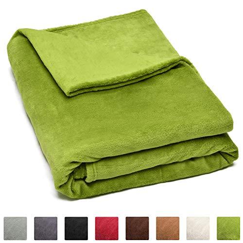 Beautissu XXL Kuscheldecke Aurelia 220x240cm Mikrofaserdecke Flauschige Coral-Fleece Wohn-Decke ÖKO-TEX grün & weitere Farben