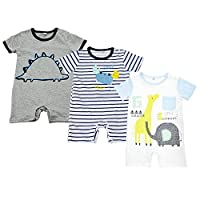 BINIDUCKLING Unisex Boys Girls Rompers Baby Short Sleeve Dinosaur Cotton Bodysuit 3 Pack