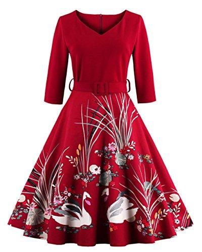 Vestiti retro 50s, VERNASSA Abito da altalena retrò anni '50,Abiti vintage a 3/4 maniche a forma di cigno con stampa casual da cocktail party party da sera,Multicolor, S-4XL Rosso