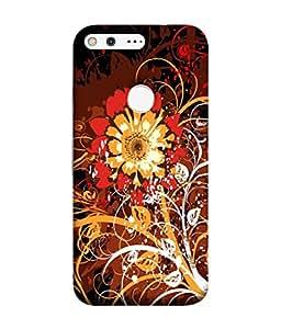PrintVisa Designer Back Case Cover for Google Pixel (Bright Background Autumn Leaves Clipart Designer Case Autumn Lovers Cell Cover Artistic Floral Smartphone Cover Branded Mobile Unique )