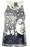Guru-Shop Sure Tank Top Buddha, Damen, Naturweiß, Baumwolle, Size:S (36), Bedrucktes Shirt Alternative Bekleidung