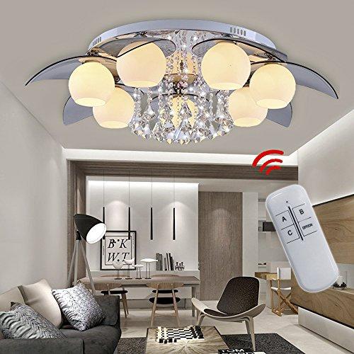 VINGO® 49W E27 7-flammig Modern Deckenlampe LED RGB Kristall Deckenleuchte mit Fernbedienung Empfangsbereichen Deckenbeleuchtung Wand-Deckenleuchte
