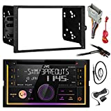 """JVC KW-R920BTS Double DIN Bluetooth Car Stereo Receiver CD Player Bundle Combo With Metra installation kit for car stereo (Fits Most GM Vehicles) + Wire Harness + Enrock 22"""" Radio Antenna With Adapter"""