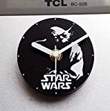 WYN123 Kreative stumm kühlschrank Aufkleber wecker wandaufkleber Tisch Aufkleber Uhren Vinyl CD Yoda Master kleine wecker Desktop neuheit Uhr