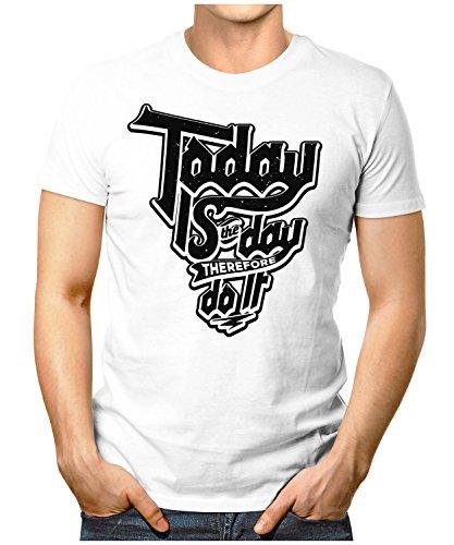 PRILANO Herren Fun T-Shirt - TODAY-DO-IT - Small bis 5XL - NEU Weiß