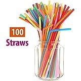 HOKIPO Bendable Neck Plastic Drinking Straws, 100 Pieces, Multicolor
