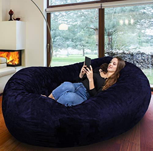 Der größte Sitzsack Europas - Riesiger Giga Sitzsack in Dunkel Blau mit 1500l Memory Schaumstoff Füllung und Waschbarem Bezug - Gemütliches Sofa, Riesen Bett, Bean Bag für Kinder und Erwachsene