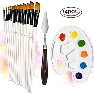 ATMOKO 12 Künstlerpinsel mit Palettenmesser/Mischpalette, Premium Nylon Pinsel für Aquarell, Acryl & Ölgemälde usw. Perfektes Pinsel Set für Anfänger, Kinder, Künstler