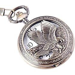 Eagle Design Pocket Watch With Chain Quartz Movement Arabic Numerals Half Hunter Vintage Design PW-65