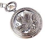 ShoppeWatch Adler Design Taschenuhr mit Kette Quarzwerk arabische Ziffern Halb-Savonette Vintage Design PW-65