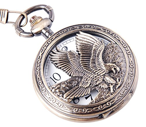 eagle-design-pocket-watch-with-chain-quartz-movement-arabic-numerals-half-hunter-vintage-design-pw-6
