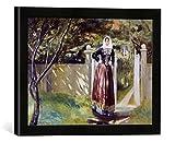 Gerahmtes Bild von Michael Peter Ancher Frau in dänischer Tracht am Gartentor, Kunstdruck im hochwertigen handgefertigten Bilder-Rahmen, 40x30 cm, Schwarz matt