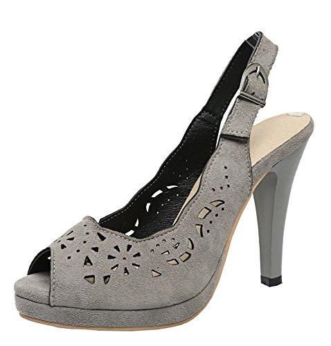 YE Damen Peep Toe High Heels Slingback Pumps mit Plateau und Lochmuster 10cm Absatz Sommer Sandalen Schuhe Grau