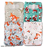 Littles & Bloomz, Reusable Pocket Cloth Nappy, Fastener: Hook-Loop, Set of 4, Patterns 408, Without Insert