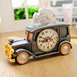D : 1x AA Battery Luxury Car Pattern mute Number Alarm Clock Student