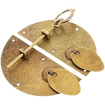 DULALA Latch Lock Metal Household Chinese Leaf Style Cabinet Key Latch Door Bolt Locking Pin Bronze Tone