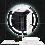 COMMODA Miroir Mur rétroéclairage Miroir sans Cadre LED dépoli Miroir Rond éclairage Mural Salle de Bain Miroir Argent avec Bouton
