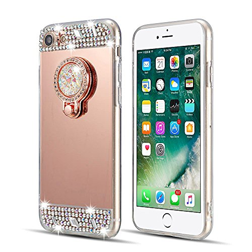 Cover iPhone 6sPlus, Lusso Specchio CLTPY iPhone 6Plus Custodia Silicone Morbido Telaio di Placcatura in Oro Rosa con Diamante Glitter e Supporto per Anelli per Apple iPhone 6Plus/6sPlus + 1 x Stilo L Oro Rosa A