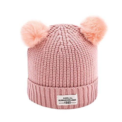 URSING Kinder Ball Kappe Brief Warm Winter Hüte Gestrickt Wolle Hemming Baby Mädchen Jungen Klassischer Einfarbig Pelzkugel gestrickt Hüte & Mützen 36-48cm (Wassermelone (Minion Family Kostüme)