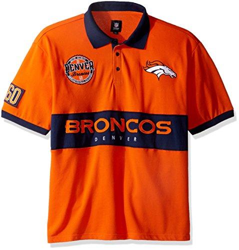 FOCO Denver Broncos Cotton/Poly Wordmark Rugby Short Sleeve Polo Shirt Medium