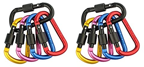 ZENDY Aluminum Clip Lock D-ring Locking Carabiner Keychain Spring Clip Lock Carabiner Hook Outdoor Camping Equipment (Pack10)