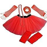 PAPER UMBRELLA Damen Mädchen Neon Tütü Rock Beinwärmer Handschuhe 5-tlg. Set - Rot, UK 16-22