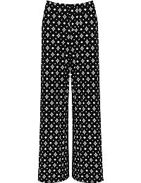 WearAll Grande taille floral imprimé pantalons jambe large palazzo - Pantalons - Femmes - Tailles 44 à 54