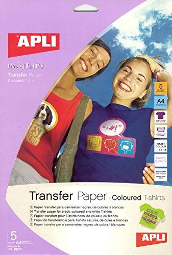 Apli 10247 Confezione 5 Fogli Carta di Trasferimento Termica Inkjet