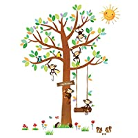 Decowall DA-1401 5 Little Monkeys Tree Kids Wall Stickers Wall Decals Peel and Stick Removable Wall Stickers for Kids Nursery Bedroom Living Room