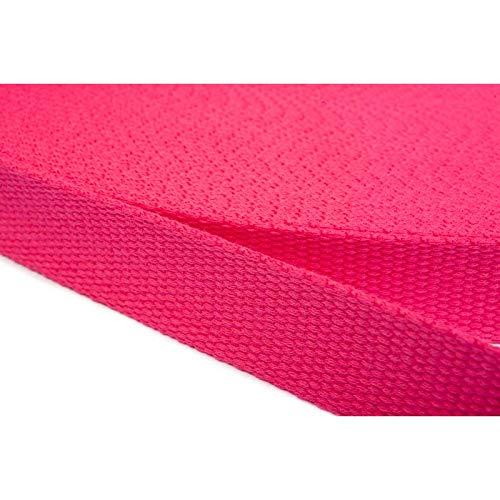 Jajasio Gurtband Baumwolle 40 mm breit, 6 Meter lang Baumwollgurtband Taschengurtband/Farbe:07 - rosa/pink -