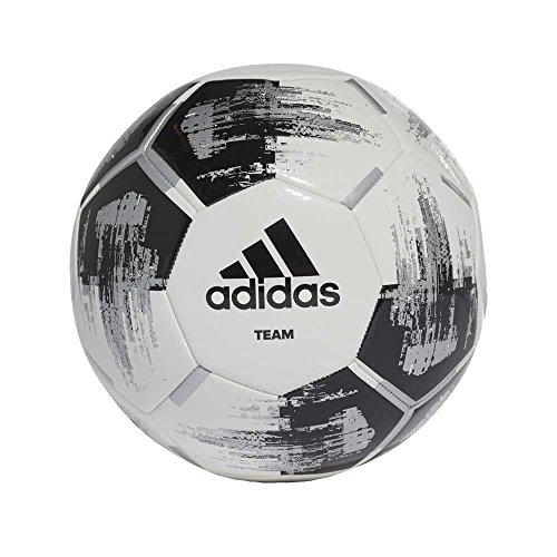 adidas Herren Team Glider Soccer Ball, White/Black/Silver met, 5