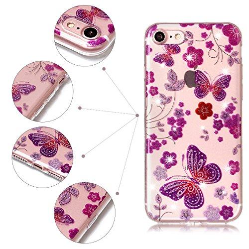Coque iPhone 7, SpiritSun Clair Transparente Etui Coque en Silicone pour iPhone 7 (4.7 pouces) Flexible TPU Housse Etui Souple Silicone Etui Coque de Protection Mince Légère Etui Téléphone Doux Housse Papillon