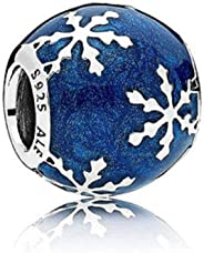 SUNWIDE Wintry Delight Midnight Blue Christmas Snowflake Charms fit Pandora Charms Bracelets