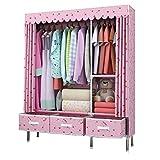 Einfach mit Schubladenmontage Tuch Garderobe Stahlrohr Verdickung Verstärkung Garderobe Verdickung Stoffschrank Großer Einzel-Doppelgarderobe (Color : Pink)