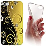Huawei Honor 7 Softcase Hülle Backkover Softcase TPU Hülle Slim Case für Huwaei Honor 7 (1073 Abstract Schwarz Gold)