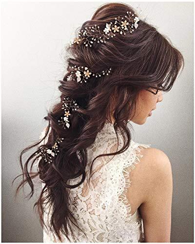 SWEETV Perle Gold Haarreife- Geflochtene Hochzeit Haarbänder Bohemian Bridal Haarschmuck - Kristall Hair Vine für Bräute Brautjungfern Extended length 28 1/2 inch