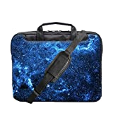 TaylorHe 15.6 inch 15 inch 16 inch Hard Wearing Nylon Colourful Laptop Shoulder Bag with Patterns, Side Pockets Handles and Detachable Strap Blue Milky Way