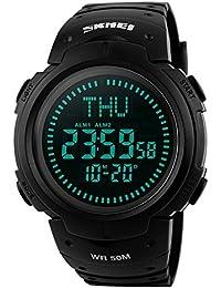 TONSHEN Brújula Relojes de Hombre Deportivos LED Digitales Outdoor 50M Resistente Agua Militares Táctica Plástico Goma Relojes de Pulsera LED Display 12H/24H 3 Alarma Para Aventura Viaje (Negro)