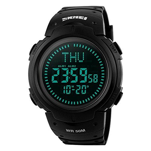 Outdoor Militär Tactical Sport Uhren für Männer 50M Wasserdicht LED Digital Kompass Uhr 12H/24H Weltzeituhr 3 Alarm Herrenuhr Plastik Lünette mit Silikon Band Wildnis Armbanduhr - Schwarz