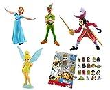 LOTE 4 FIGURAS Bullyland Peter Pan - Peter Pan - Wendy - Capitán Garfio - Campanilla + REGALO