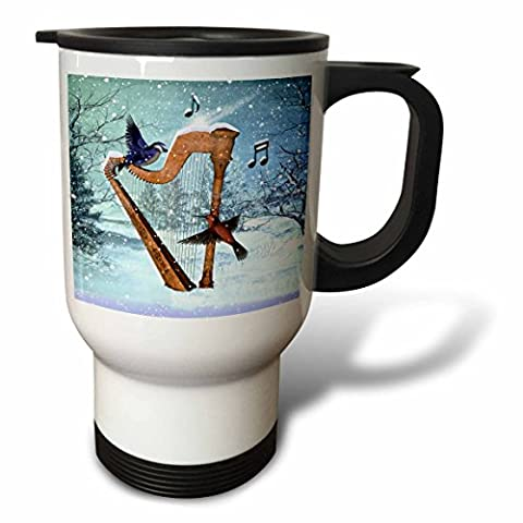 3dRose tm_97860_1 Bluebird and Hummingbird with a Harp in The Snow and Musical Notes Travel Mug, Stainless Steel, 14-Ounce