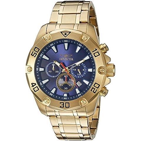 Invicta Men's Pro Diver 48 mm, placcato in oro da 18 K & Case-Cronografo da uomo al quarzo, quadrante 20010, colore: blu - 18k Quadrante Blu