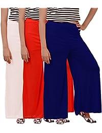 Carrol Women's Palazo combo of 3 (Red,Navy Blue & White )